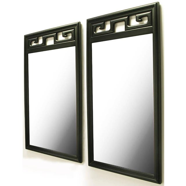 Pair of Black Lacquer Asian Greek Key Panel Mirrors - Image 2 of 4