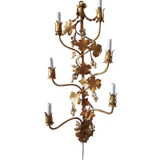 1960s Gilt Tole Grape Cluster Wall Sconce