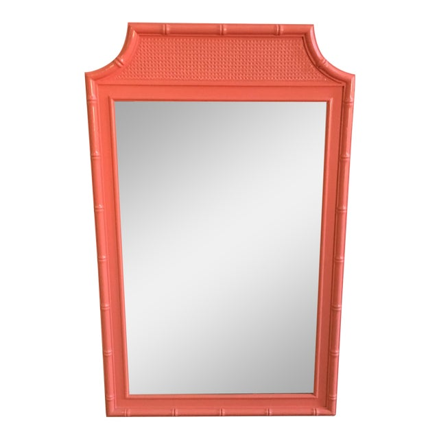 Vintage Coral Faux Bamboo Pagoda Style Mirror - Image 1 of 10