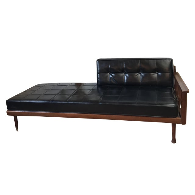 Mid century walnut daybed sofa chairish for Mid century daybed sofa