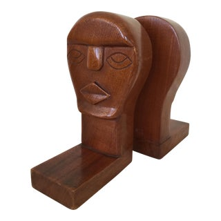 Modernist Wood Sculpture Bookends - A Pair