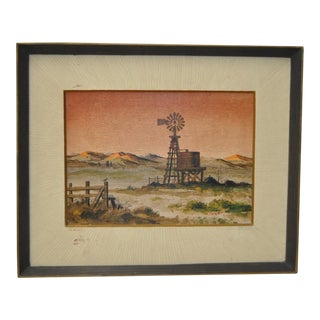 """Forrest Hibbits """"California Country Farm"""" Oil Painting c.1970"""
