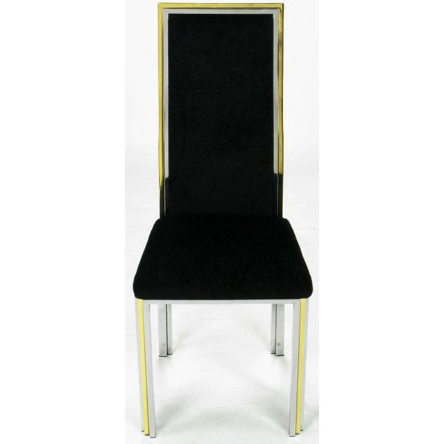 Six Chrome & Brass Dining Chairs Attributed to Romeo Rega - Image 5 of 8