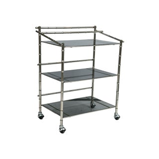 Silver & Smoked Glass Faux Bamboo Bar Cart
