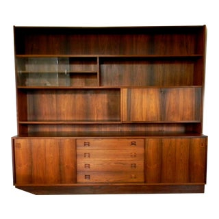 Vintage Mid-Century Danish Rosewood Bookcase Wall Unit Buffet Bar Cabinet Storage Book Shelf