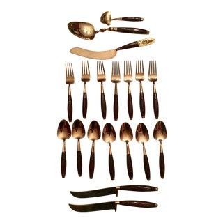 Mid-Century Brass & Wood Dessert Flatware- 19 Pieces
