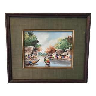 Vintage Asian River Scene Painting