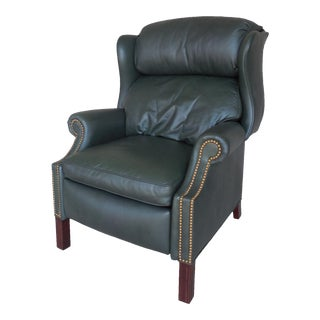 Hancock & Moore Leather Chippendale Style Wing Back Recliner