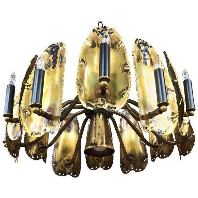 Tom Greene for Feldman Brutalist Brass Chandelier - Image 9 of 9