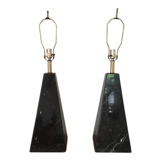 Black Marble Pyramid Lamps - A Pair