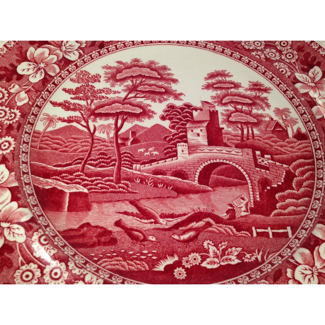 Image of Spode's Tower Pink Transferware Dinner Plates -S/8