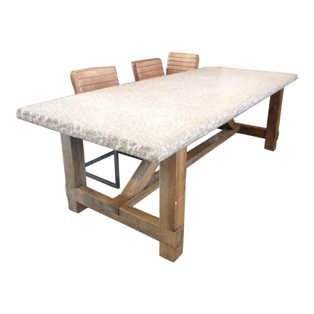 Granite top dining table with raw wood base chairish - Granite and wood dining table ...