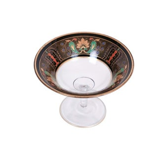 English Aesthetic Black & Gold Footed Glass Bowl
