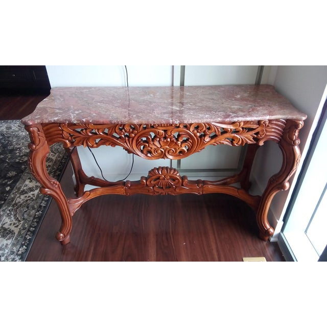 Marble Top Carved Wood Console Table - Image 2 of 5