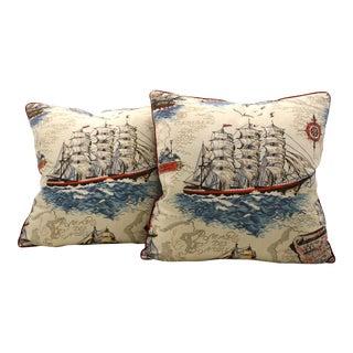 Vintage Clipper Ship Pillows - A Pair
