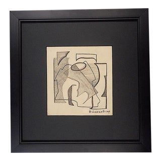 Vintage Graphite On Paper By Listed US Artist Blanche Lazzell- Abstract Composition