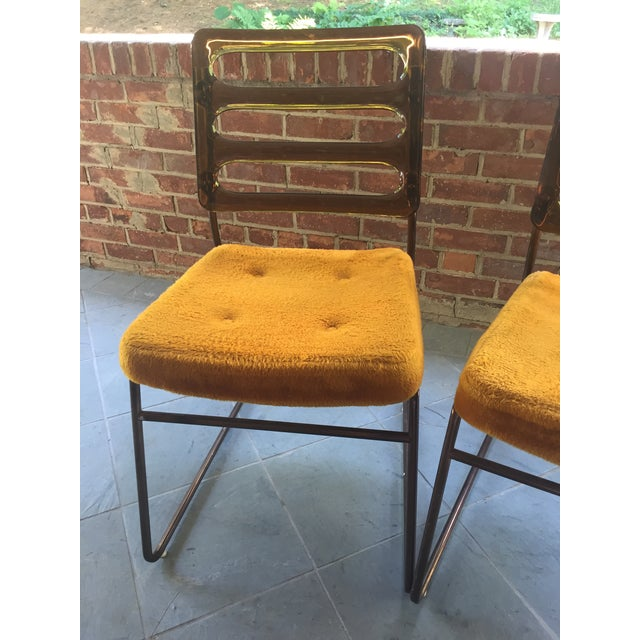 Mid-Century Chrome Craft Amber Lucite & Orange Chairs - A Pair - Image 10 of 10