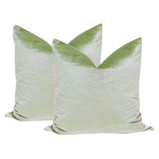 "22"" Italian Silk Velvet Pillows in Pistachio - a Pair"