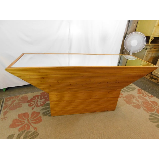 Vintage Mid-Century Split Reed Mirror Top Console Table - Image 10 of 10