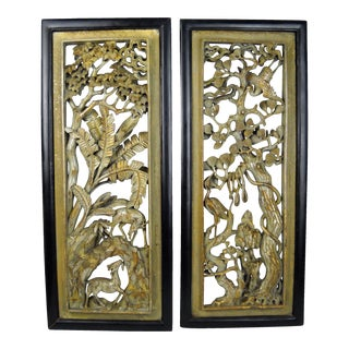 Asian Carved Wood Panels - A Pair
