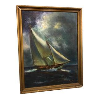 Painting of a Sailboat at Sea by Rosalie Davis