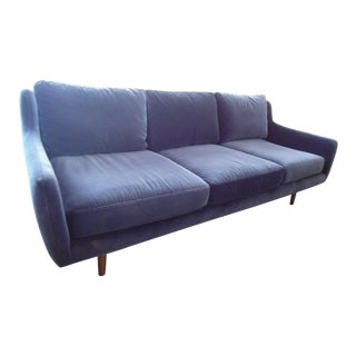 Slope Arm Navy Blue Velvet Sofa with Walnut Legs