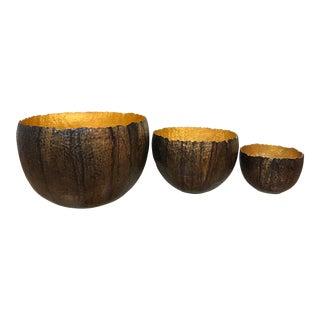 Juniper Modern Copper & Gold Bowls - Set of 3