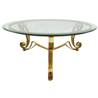 Hollywood Regency Gold Iron & Glass Top Table