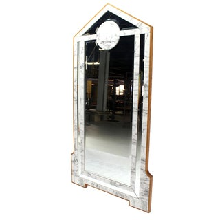 Mid-Century Modern Marble & Wood Frame Floor Mirror Cheval Easel