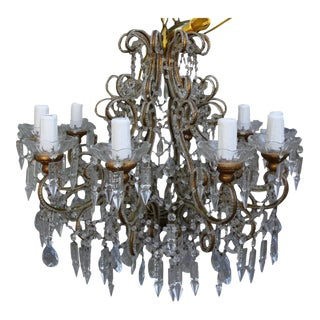 Italian Crystal Beaded 8-Light Chandelier
