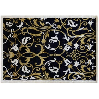 Floral Black and Gold Rug - 5' X 7'