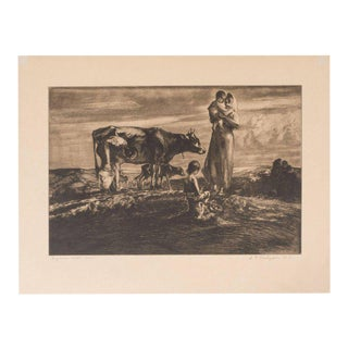 Signed Original Pastoral Etching by John E. Costigan