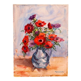 Gerbera Daisies in Purple & Red, C. 1930 by Raoul Monory