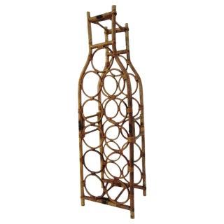 Mid-Century Bamboo & Rattan Standing Wine Rack