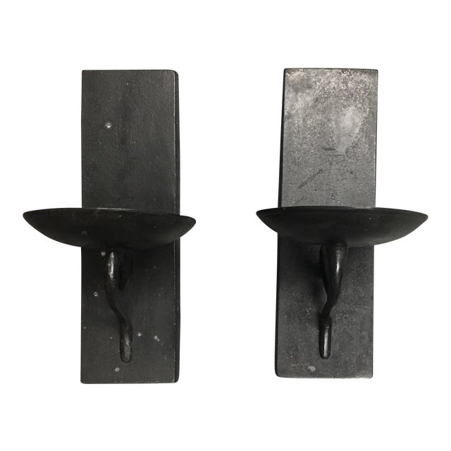 Wrought Iron Wall Candle Holders- A Pair - Image 1 of 5