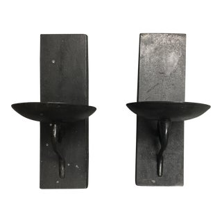Wrought Iron Wall Candle Holders- A Pair