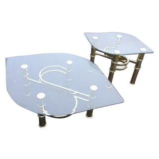 Hollywood Regency Tear Drop Gold Tables - A Pair
