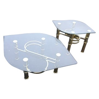 Hollywood Regency Tear Drop Gold Tables - A Pair