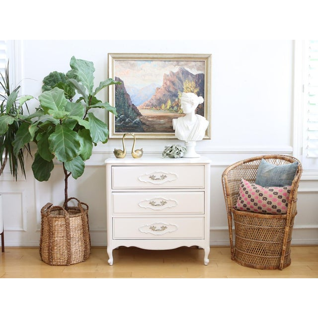 Shabby Chic Vintage White Nightstand - Image 3 of 6