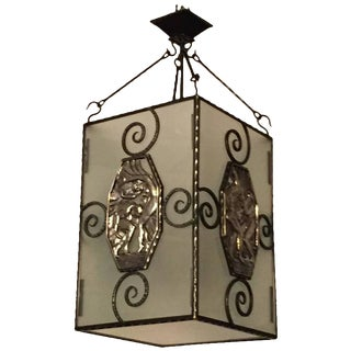 French Art Deco Lantern or Chandelier with Mythical Plaques
