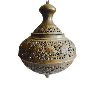 Vintage Moroccan Style Pierced Brass Teardrop Pendant Light