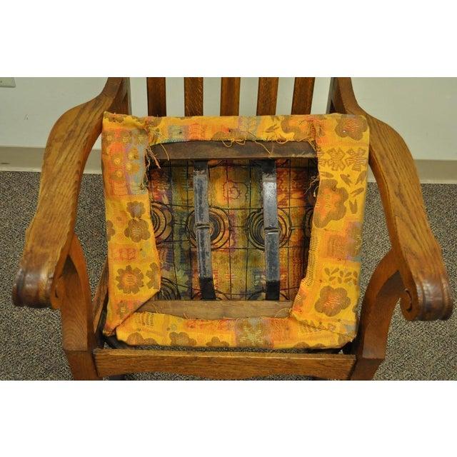 Antique Mission Arts & Crafts Carved Solid Oak Rocking Lounge Chair - Image 10 of 11