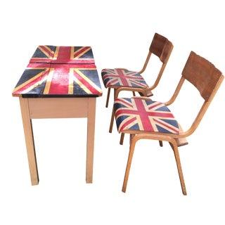 1960s British Flag School Desk & Chairs