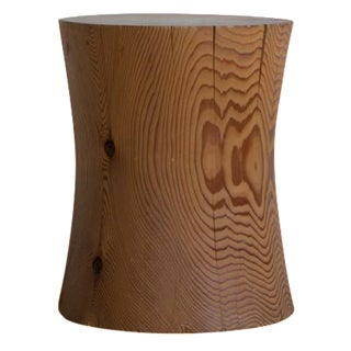 Sculpted Wood Stump Side Table