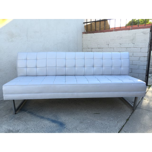 Modern Vinyl Chrome Legs Sofa - Image 10 of 10