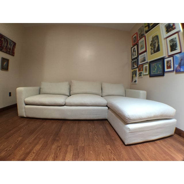 Modern Cotton/Linen Blend Couch with Chaise - Image 4 of 7