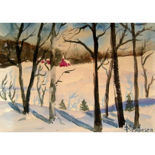 New England Winter Watercolor Painting