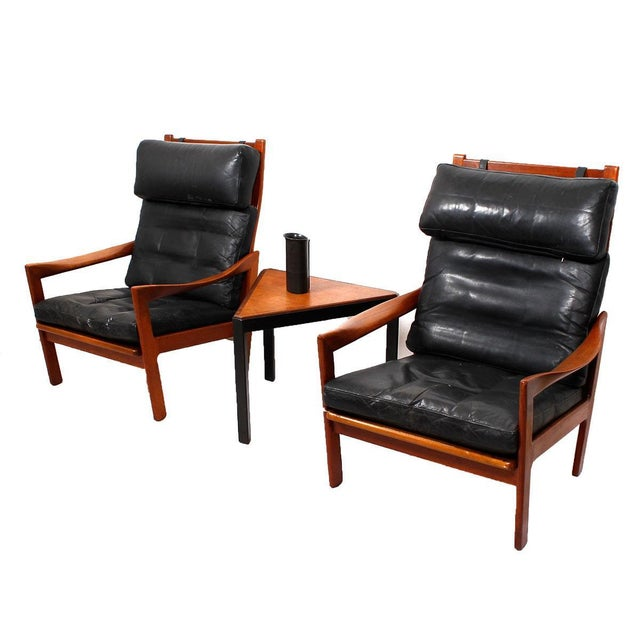 Illum Wikkelso Teak & Leather Lounge Chairs - Pair - Image 7 of 7