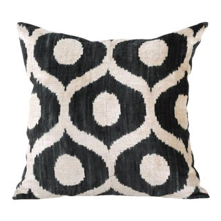 Graphite & Cream Ikat Silk Velvet Pillow