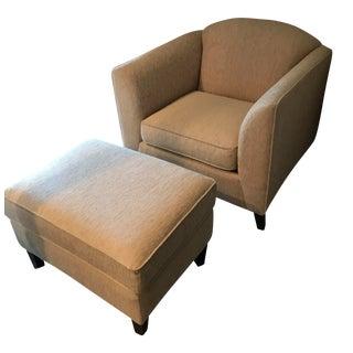 Contemporary Cream Club Chair & Ottoman